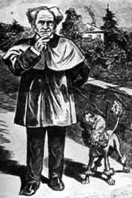 Drawing of German philosopher Arthur Schopenhauer with a poodle