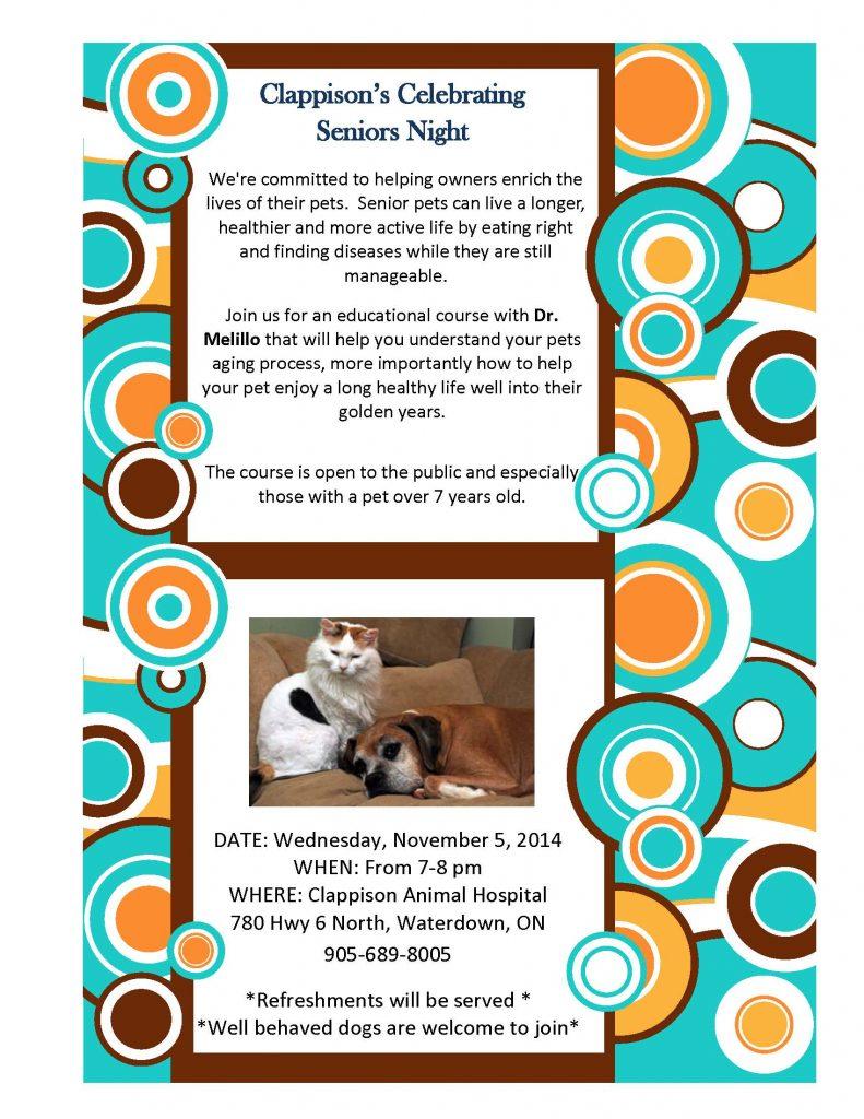 Clappison Animal Hospital Senior Pets Night event poster