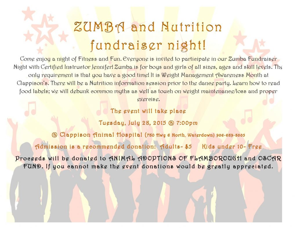 Zumba and Nutrition fundraiser night event poster
