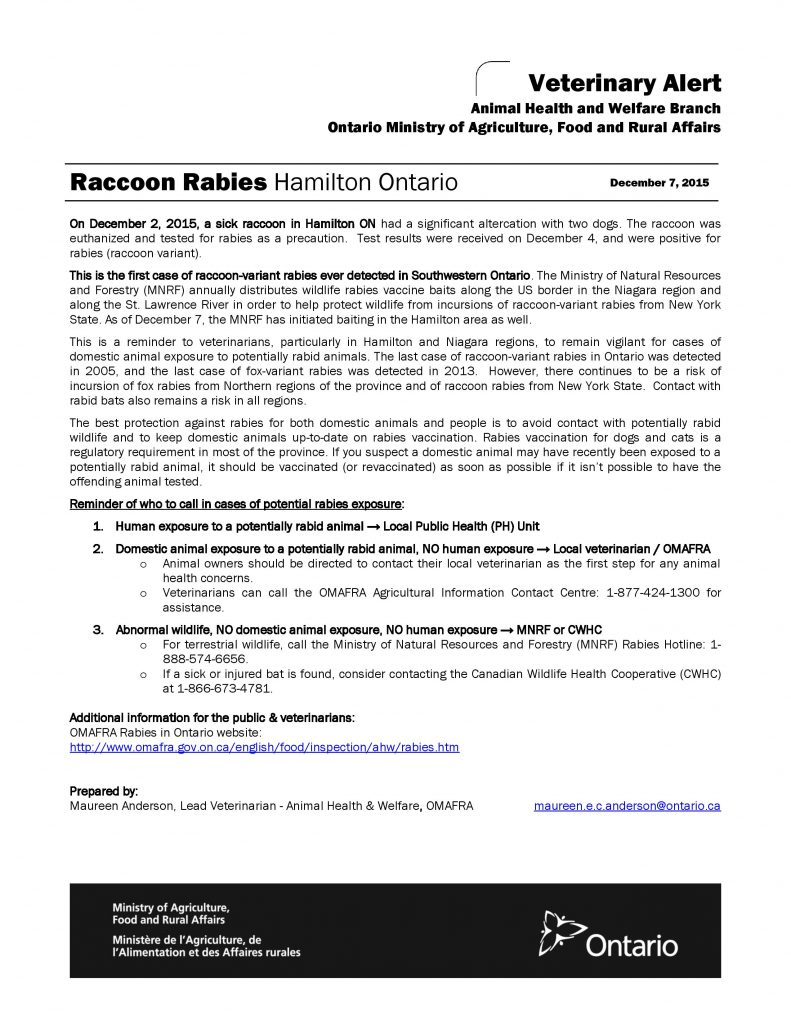 Raccoon rabies warning from the Animal Health & Welfare branch of OMAFRA