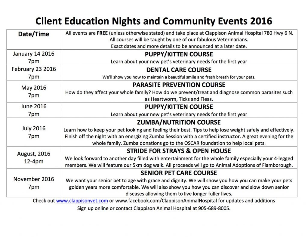 A detailed list of Client Education Nights and Community Events for the year 2016