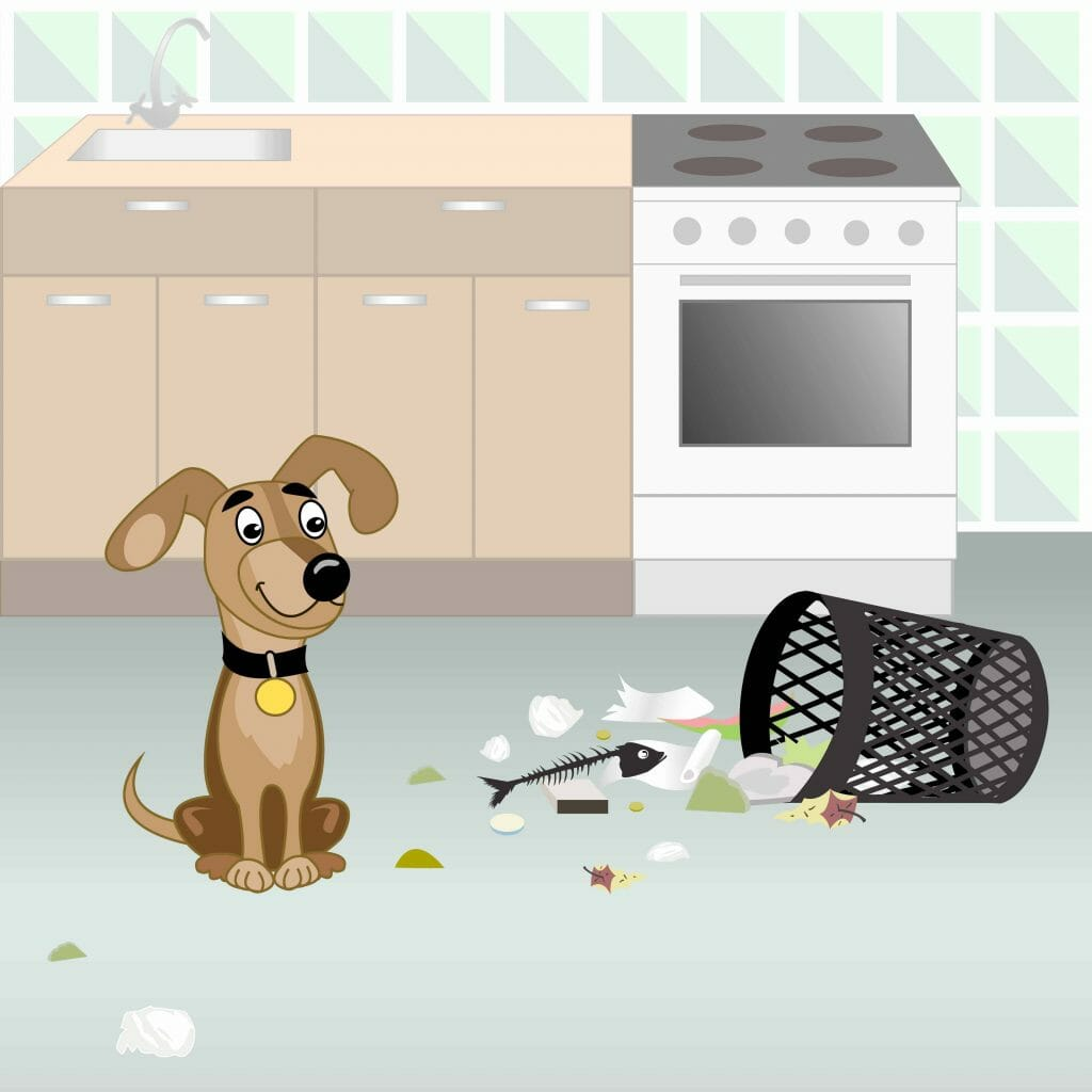 Drawing of a dog with a turned over trash can and trash on the kitchen floor